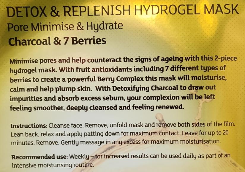 7th heaven renew you Detox & Replenish Hydrogel Mask instructions